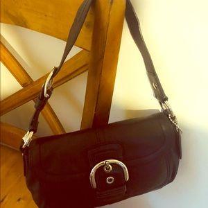 Authentic black hobo coach leather purse
